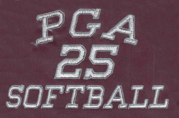 PGA 25 softball logo embroidered